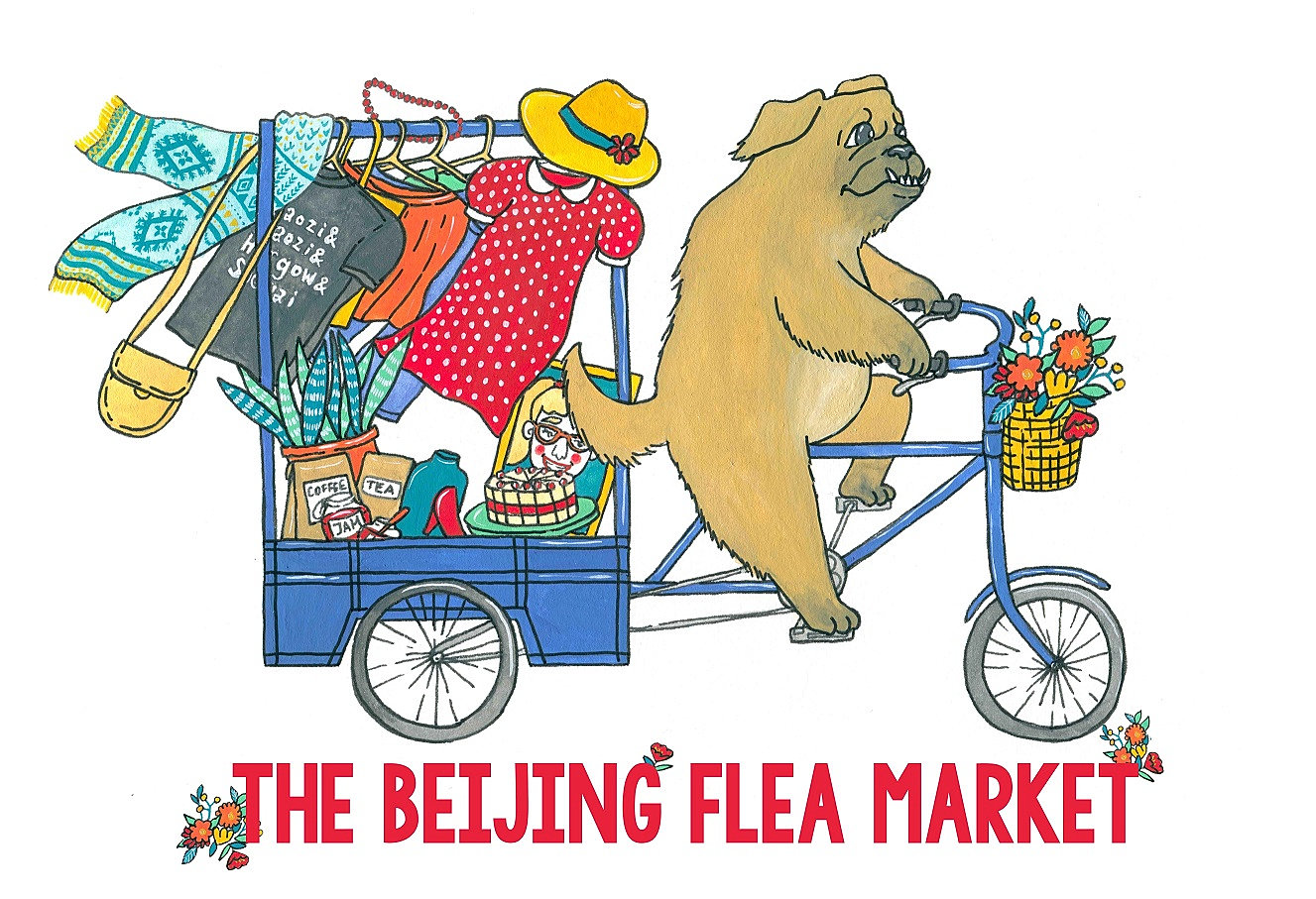 Liuba Draws Illustrations | The Beijing Flea Market Brand Identi