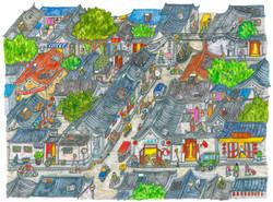 Hutong Streets Liuba Draws