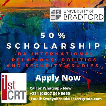 50% scholarship BA International Relatio