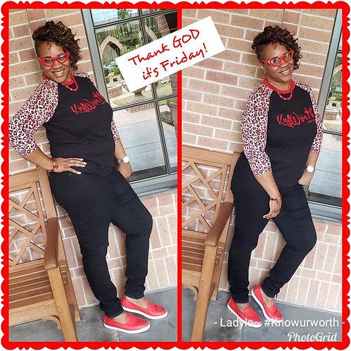 Know Ur Worth Cheetah Raglan