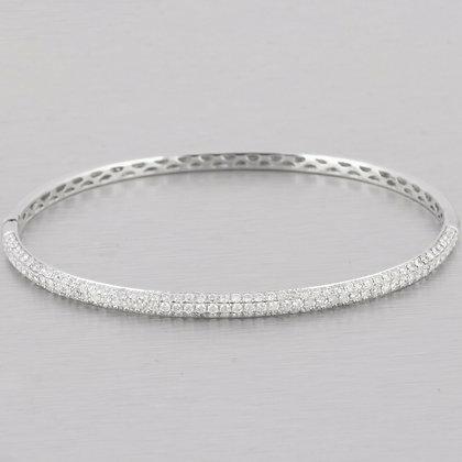 14k White Gold Halfway Pave Diamond 3.50mm Hinged Bangle Bracelet 1.65ctw G SI1