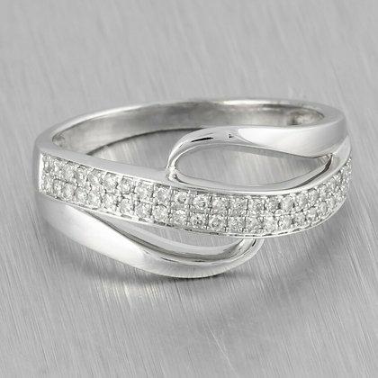 Modern Estate 14k White Gold Single Cut Two Row Diamond Wave Ring 0.35ctw