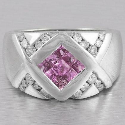 Modern Estate 14k White Gold Pink Sapphire 0.45ctw & Diamond Ring 0.50ctw Size 7