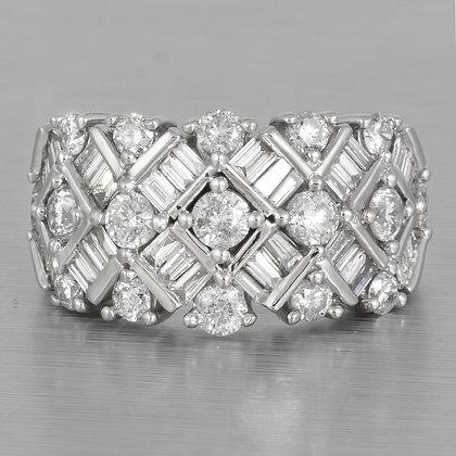 14k White Gold Round & Baguette Diamond Ring 1.59ctw sz. 4.75