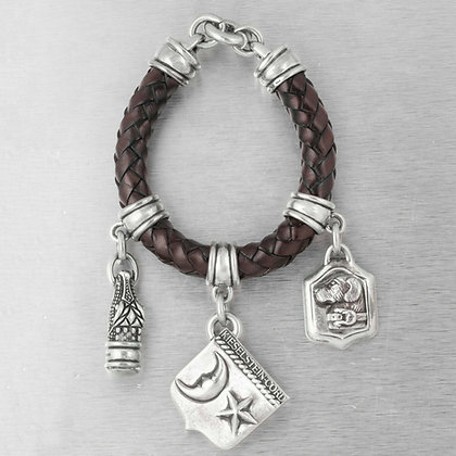 Kieselstein-Cord 925 Silver Star Moon Dog Gator Leather Charm Bracelet 1995 1996