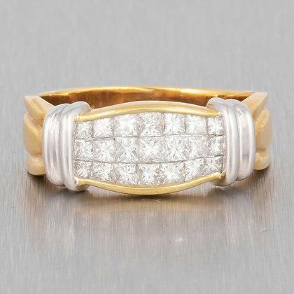 18k White & Yellow Gold 3 Row Princess Cut Diamond Ring 1.50ctw size 10