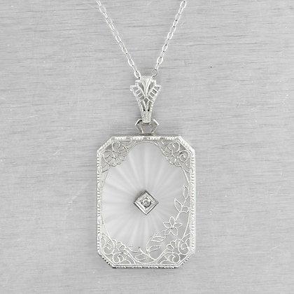 Antique Victorian 14k White Gold Diamond Camphor Glass Filigree Pendant 0.01ct