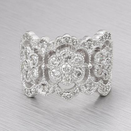 Estate 14k White Gold Right Hand Diamond Milgrain Flower Ring 0.65ctw Size 6.75