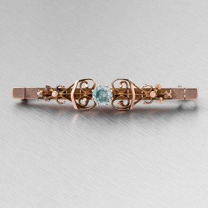 Antique Victorian Etruscan Revival 14k Rose Gold Aquamarine Scroll Brooch Pin
