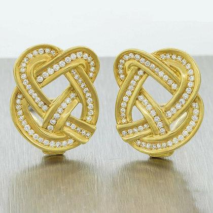 "Rare Tiffany & Co. Angela Cummings 18k Gold Diamond Pretzel 1.50ctw Earrings 1"""
