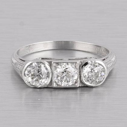 Antique Edwardian Platinum 900 3 Stone Old Mine Diamond Ring G VS2 0.95ctw sz. 5