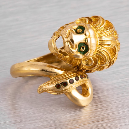 RARE Vintage 18k Yellow Gold Red Scale & Green Enamel Lion Head & Tail Ring