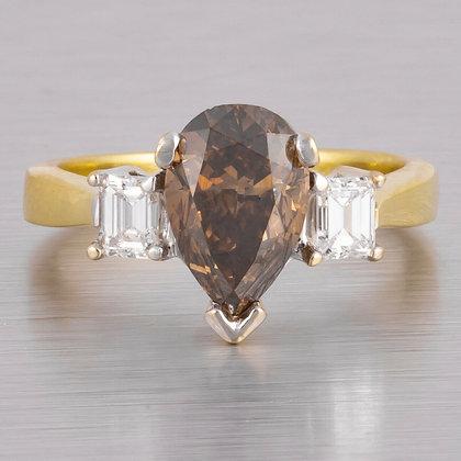 18k Yellow Gold 2.12ctw Pear Brilliant Brown Diamond Engagement Ring EGL $6,890