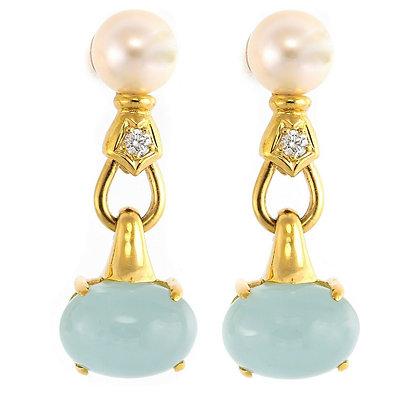 18k Yellow Gold Diamond Pearl Cabochon Cloudy Blue Quartz Drop Earrings .10ctw