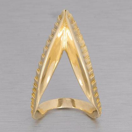 Vintage Ilias LaLaounis 18k Yellow Gold Greek Designer Ring RARE Size 8.25