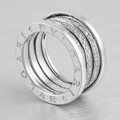 B.zero1 Style 18k White Gold Three Row Diamond Spiral Band 0.78ctw Ring Size 6