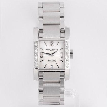 Baume & Mercier Hampton Tiffany & Co Diamond Bezel MOP Dial 22mm Watch Ref 65516