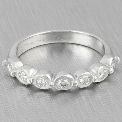 Doris Panos 18k White Gold 0.35ctw Diamond Wedding Band Ring 3.4g