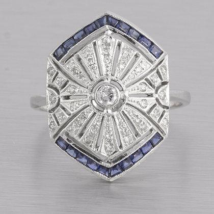 Antique Estate Art Deco 14k White Gold Diamond Sapphire Ring 0.40ctw Size 6.75