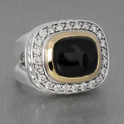 RARE David Yurman 18K Gold & Silver Onyx Albion 1.25ctw Diamond Cable Ring