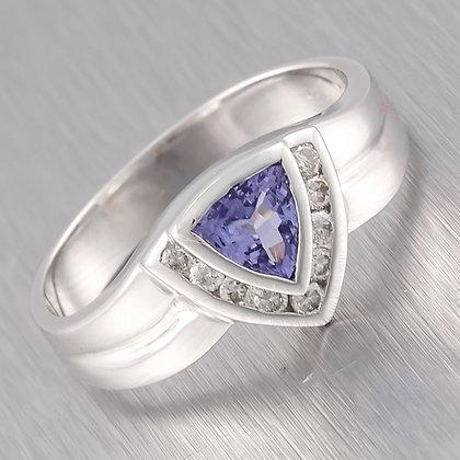 Vintage Estate 14k Solid White Gold Diamond Trillion Cut Tanzanite Ring 0.10ctw