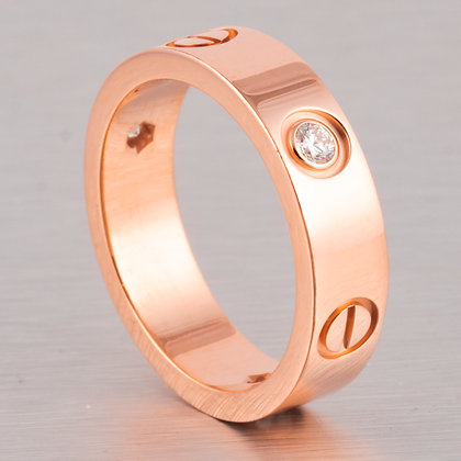 Cartier 3 Diamond Love 18k Rose Gold 5.50MM Wedding Band Ring 0.22ctw Size 57
