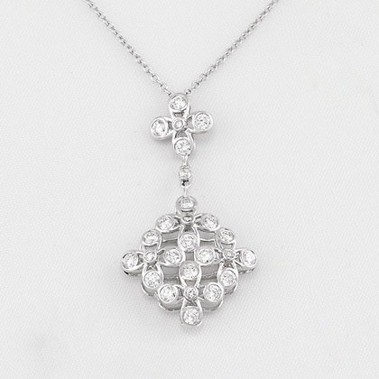 "KWIAT Violet 18k White Gold 0.80ctw Diamond Dangling Necklace 16"" RETAIL $4850"