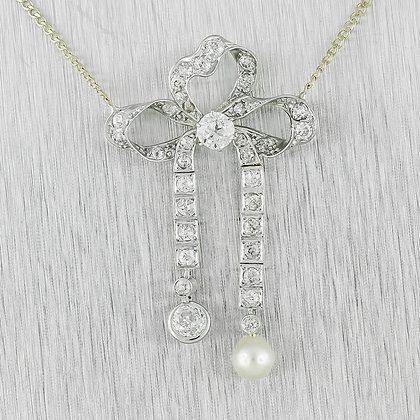 "Art Deco 14k Yellow Gold & Platinum 1.10ctw Diamond Pearl Ribbon Necklace 15.75"""