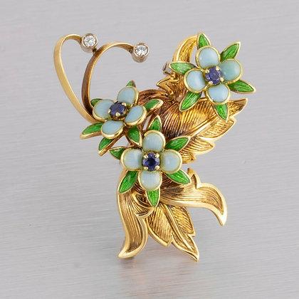 Tiffany & Co Blue Enamel Flower Sapphire Diamond .25ctw 18k Yellow Gold Leaf Pin