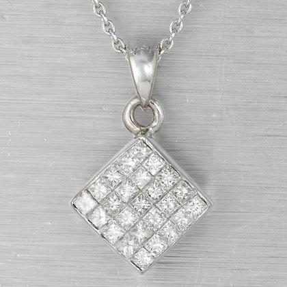 "Estate 18k White Gold Princess Cut Diamond Square Pendant Necklace 0.50ctw 18"""