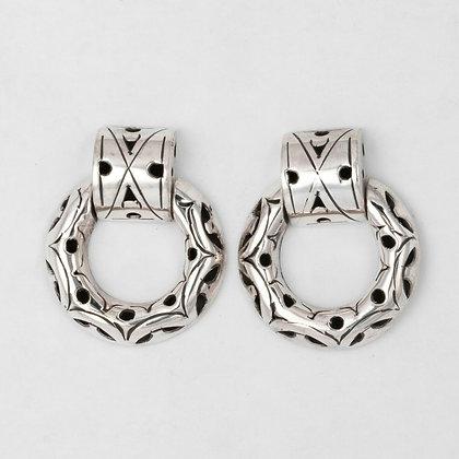 John Hardy 925 Sterling Silver Kali Double Hoop Door Knocker Earrings