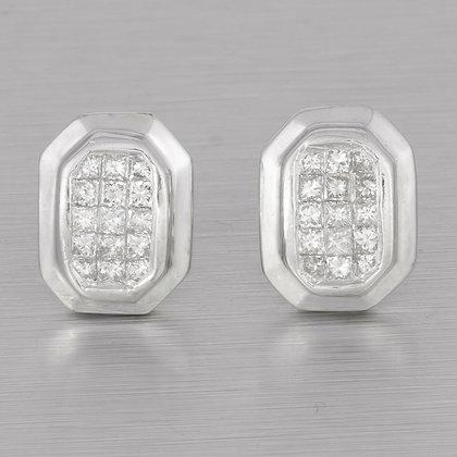 14k White Gold Princess Cut Diamond Octagonal Stud Earrings 0.85ctw G VS2
