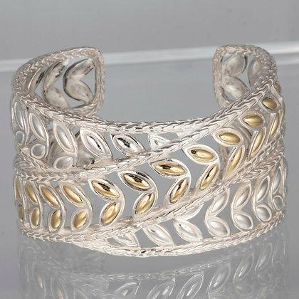 John Hardy 18k Gold & 925 Silver Wide Crossover Kawung Flower Cuff Bracelet