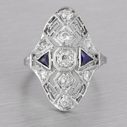 Antique Art Deco 18k White Gold Old Mine Diamond Sapphire Ring 1.00ctw Size 3.5