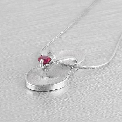 "Na Hoku 14k White Gold Ruby Flip Flop Slipper / Sandal Pendant Necklace 16"" BOX"