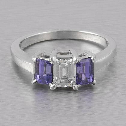 14k White Gold Three Stone Emerald Cut Diamond & Tanzanite Ring 1.65ctw