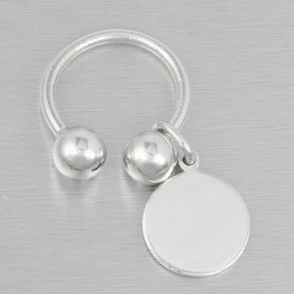 Tiffany & Co. 925 Sterling Silver Horseshoe Circle Tag Key Chain Fob SMALL
