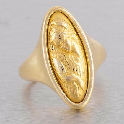 Estate 18k Yellow Gold Engraved Mirror Gazing Lady Motif Ring Size 5 VINTAGE
