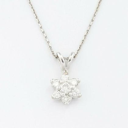 Estate Solid 14k White Gold Diamond Floral Cluster Pendant 0.40ctw VINTAGE