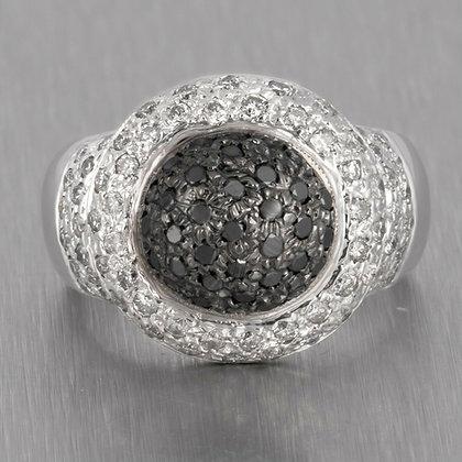 14k White Gold Salt & Pepper Pave Diamond Black Domed Halo Ring 1.06ctw Size 7