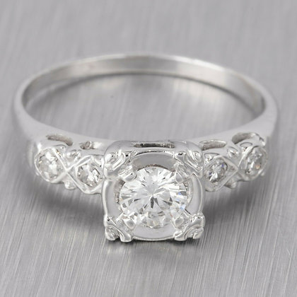 Modern Estate 14k White Gold E-F VS2 Diamond Engagement Ring 0.49ctw EGL $2,760
