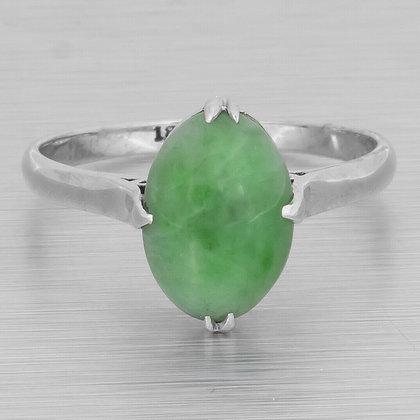 Estate Solid 18k White Gold 11mm Oval Cabochon Jade Ring Size 7.25 VINTAGE