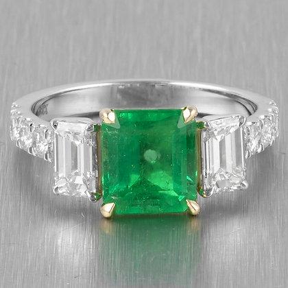 18k White Gold Three Stone Octagonal Emerald & Diamond Ring 3.47ctw GIA