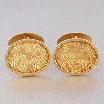 Men's Vintage Cartier 18k Yellow Gold Textured Cufflinks 11.7 grams RARE
