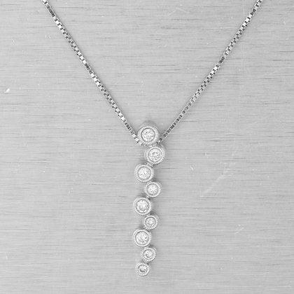 "Estate 14k White Gold Diamond Graduated Zig Zag Journey Necklace 18"" 0.23ctw"
