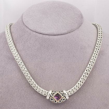 John Hardy 18k Gold 925 Silver 7.5mm Classic Chain Necklace w/ Amethyst Pendant