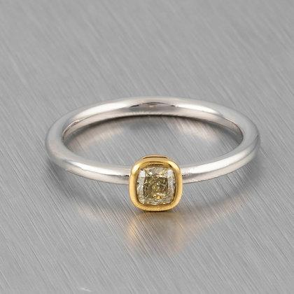 Tiffany & Co PT 950 & 18k Gold .24ct Fancy Yellow Diamond Engagement Ring