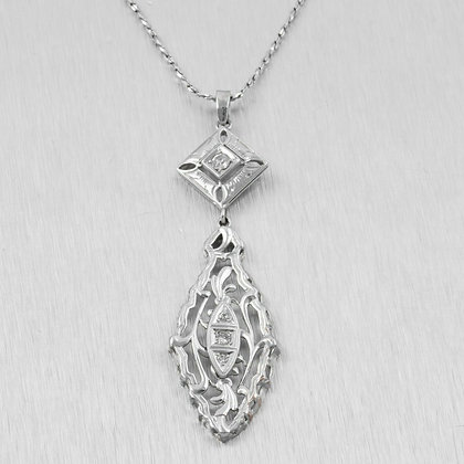 """Antique Art Deco 14k White Gold Diamond Two Sectioned Necklace 0.17ctw 16"""""""