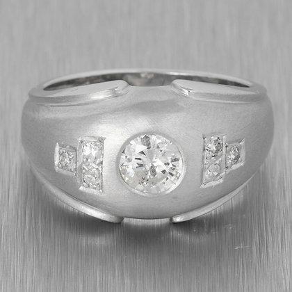 14k White Gold Bezel Set Diamond Airbrushed Domed Ring 0.53ctw Size 6.75