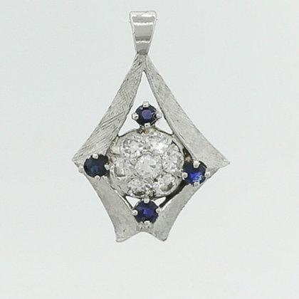 "Antique Art Deco 14k White Gold 0.45ctw Diamond & 0.20ctw Sapphire Pendant 1"""